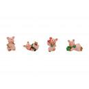 Glücksschweine mini poli, 4- volte assortito , 2,5