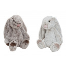 wholesale Dolls &Plush: Rabbit in beige / brown plush, 2 times assorted ,