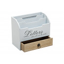 wholesale Gifts & Stationery: Letter tray made of wood in white / brown, B20 x T