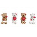 grossiste Poupees et peluches: Kantenhocker ours avec Rose / Coeur, 4x assorti, 6