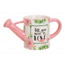 Großhandel Gartengeräte: Gießkanne Flamingo Motiv aus Keramik Bunt (B/H/T)