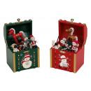 Music Box con decorazioni di Natale, fatto di legn
