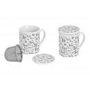 porcellana Bicchiere con coperchio e colino da tè,
