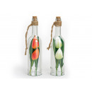 Decoration glass bottle with artificial tulips, 3-