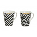 Mug stripes porcelain, 2-way sortie