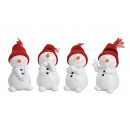 Snowman with red knit beanie in poly white 4-f