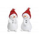 Snowman with red knit hat made of poly white 2-f