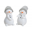 Snowman with knit cap gray white, made of poly, We