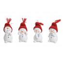 Pupazzo di neve con cappello lavorato a maglia ros