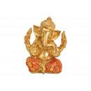 Ganesha in poli oro, rosso (L / A / P) 13x17x11cm