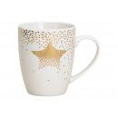 Kubek z motywem złotej gwiazdy w białej porcelanie