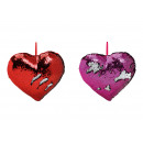 Heart pillow with sequins color change from velvet