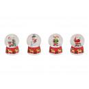 Snow globe Babbo Natale, pupazzo di neve, alci su