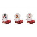 Snowglobe Christmas figures on Santa Claus boots