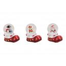 Großhandel Geschenkartikel & Papeterie: Schneekugel Weihnachtsfiguren auf Nikolaus Stiefel