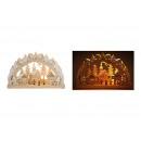 Großhandel Geschenkartikel & Papeterie: Schwibbogen Kirche im Winterwald mit LED Beleuchtu
