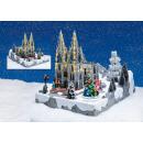 Téli táj Cologne Cathedral LED világítással, zenév