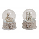 wholesale Snow Globes: Snowglobe deer motif in poly white 2-fold sort
