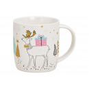 Mug deer porcelain decor white (B / H / D) 12x