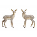 Poly Gray deer with glitter 2- times assorted , (B