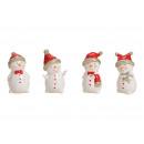 Snowman, red Cap ceramic white with gold Eq