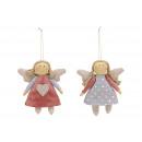 Christmas Hanger Angel in tessuto Grigio, rosa 2-f