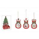 Gancio natalizio in Display di legno colorato 3-f
