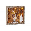 Foresta invernale in scatola con illuminazione a L