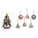 Boże Narodzenie wieszak drzewo, dom, piłka 7x7cm n