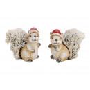 Christmas squirrel clay, plush brown 2-fac