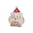 Lantern Christmas Owl Ceramic Colorful, (B / H / D