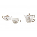 Teiera Set Elk Decor ceramica bianco set di 2