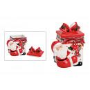 Tin Santa con confezione regalo in ceramica rossa