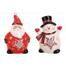 Windlicht Nikolaus, pupazzo di neve in ceramica ro