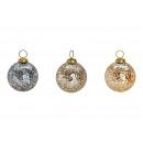 Świąteczna kula złota, srebra, brązowego szkła 3-w