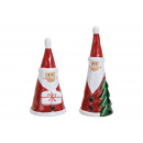 Babbo Natale in ceramica rosso 2- volte assortito