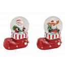 Globo di neve Babbo Natale, alce con stivaletto di