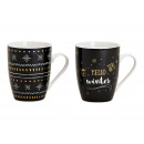 Mug winter porcelain decor black, gold 2-