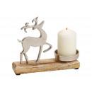 Candelabro in metallo, decorazione alce in legno d