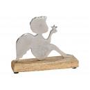 Angelo di metallo, argento legno di mango (B / H /
