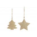 Stella del gancio di Natale, oro albero di metallo