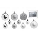 ingrosso Decorazioni: Set palla di Natale Ø 3/4/6 cm in plastica argento