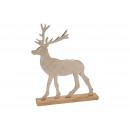 Cervo su tronco in legno di mango di metallo argen