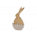 Coniglio fatto di legno di mango a metà marrone uo