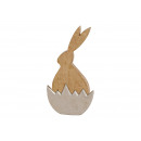 Coniglio fatto di legno di mango in mezzo metallo