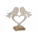 Display bird on metal heart on mango wood