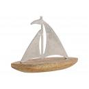 Barca a vela in metallo, argento legno di mango, m