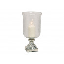 Świecznik, szklany wazon srebrny, przezroczysty (B