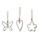 Cuore di gancio, fiore, farfalla sillaba in metall