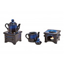 Bruciatore di incenso con pentola in ceramica blu